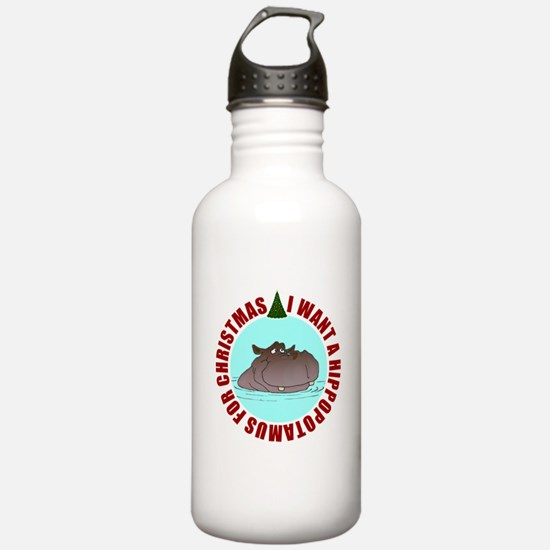 Hippo for Christmas Water Bottle