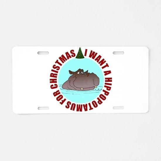 Hippo for Christmas Aluminum License Plate
