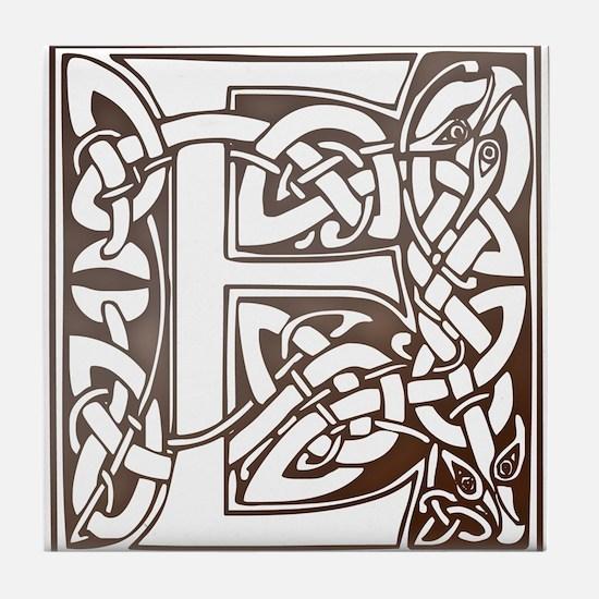 Celtic Letter E Tile Coaster