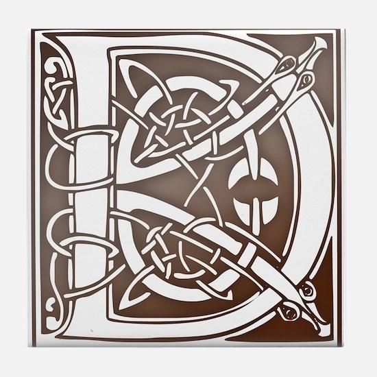 Celtic Letter D Tile Coaster