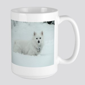 American Eskimo Dog Snow Day Large Mug