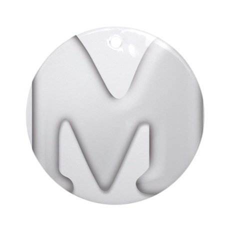 White Letter M Ornament (Round)