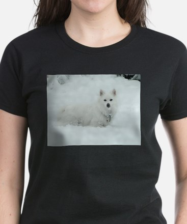 American Eskimo Dog Snow Day Women's Dark T-Shirt