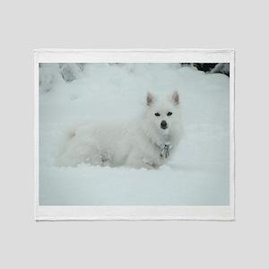 American Eskimo Dog Snow Day Throw Blanket