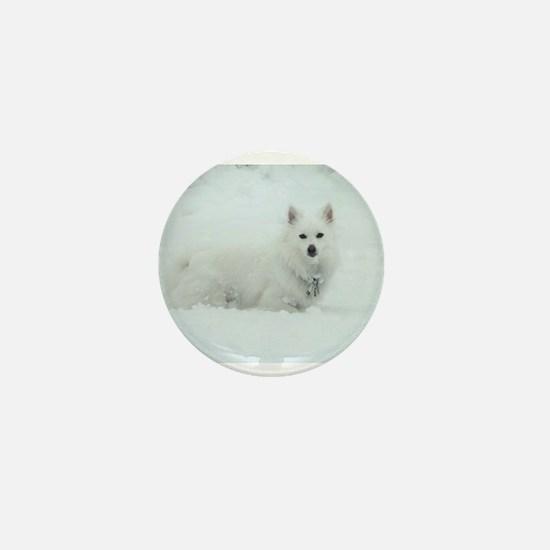 American Eskimo Dog Snow Day Mini Button