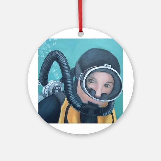 Double Hose Diver Ornament (Round)