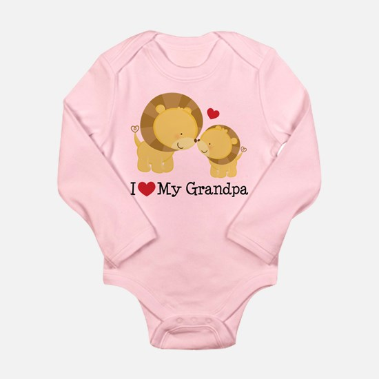 I Heart My Grandpa Long Sleeve Infant Bodysuit
