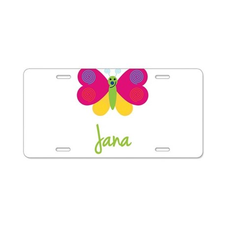 Jana The Butterfly Aluminum License Plate