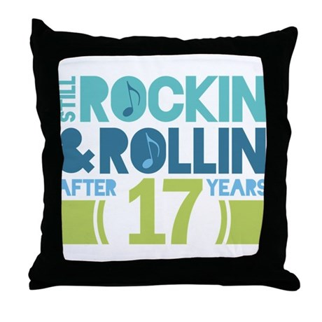 17th Anniversary Rock N Roll Throw Pillow