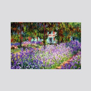 Monet - Irises in Garden Rectangle Magnet