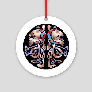 Irish Celtic Double Dachshund Dogs Ornament (Round