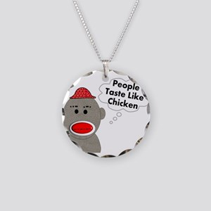 Sock Monkey Necklace Circle Charm