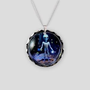 Alien Necklace Circle Charm