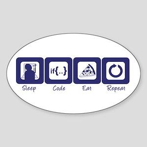 Sleep- Code- Eat- Repeat Oval Sticker