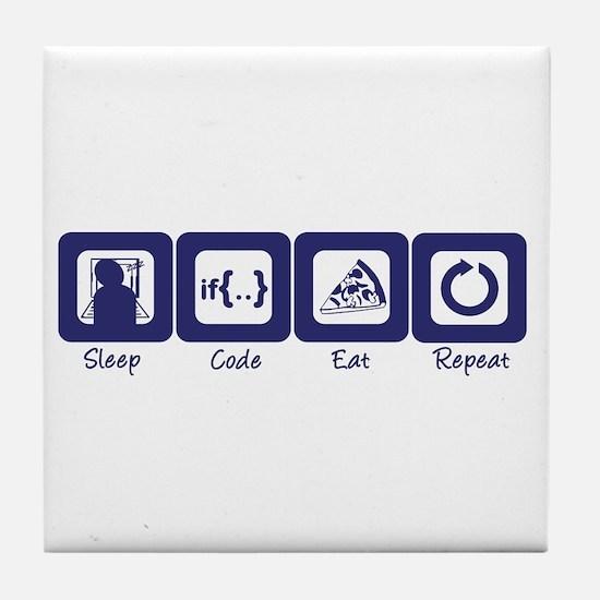 Sleep- Code- Eat- Repeat Tile Coaster