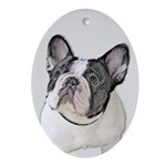 French Bulldog (Brindle Pied) Oval Ornament