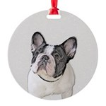 French Bulldog (Brindle Pied) Round Ornament