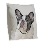 French Bulldog (Brindle Pied) Burlap Throw Pillow