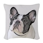French Bulldog (Brindle Pied) Woven Throw Pillow