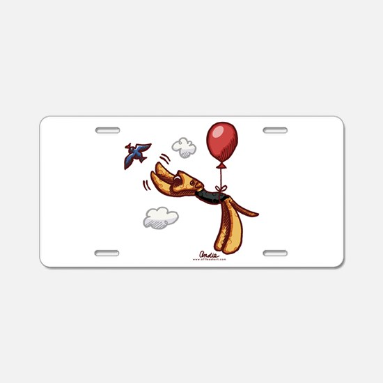 Aire-Balloon Airedale Terrier Aluminum License Pla