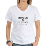 Skidder Girl Women's V-Neck T-Shirt