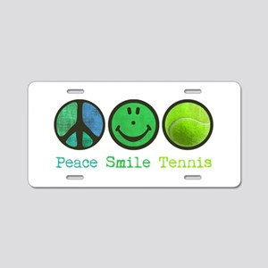 Smile and TENNIS Aluminum License Plate