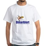 Mens White T-Shirt - Kaperoni & DinarAlert Log