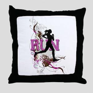 Run - Running Girl Throw Pillow