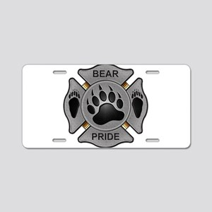 Bear Pride Firefighter Badge Aluminum License Plat