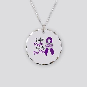 I Wear Purple 18 Alzheimers Necklace Circle Charm
