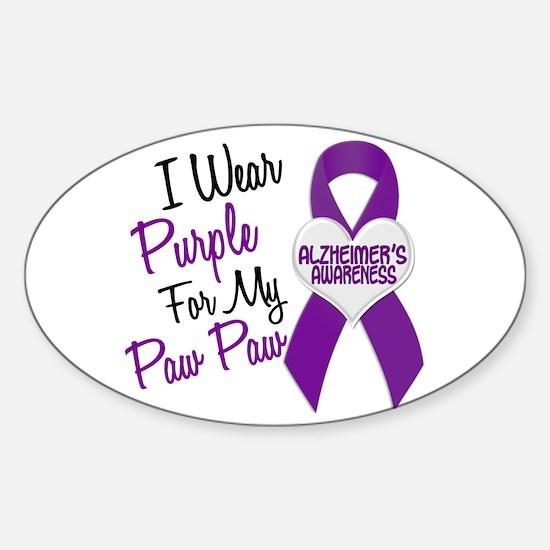 I Wear Purple 18 Alzheimers Sticker (Oval)