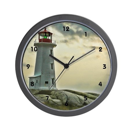 Lighthouse on Granite Wall Clock