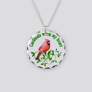 Cardinals Warm My Heart Necklace Circle Charm