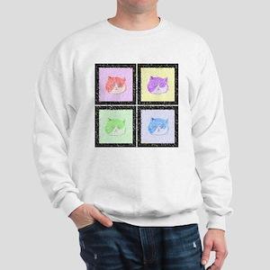 Furry Pastel Pop Art Cats Sweatshirt