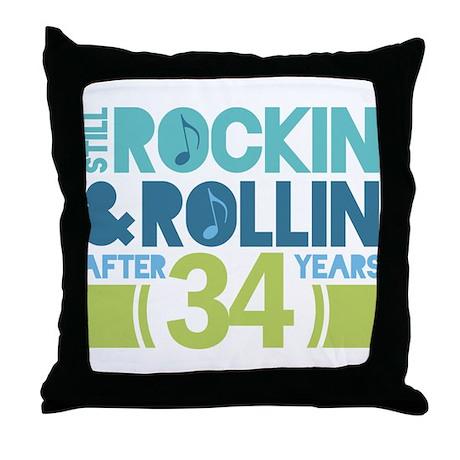 34th Anniversary Rock N Roll Throw Pillow