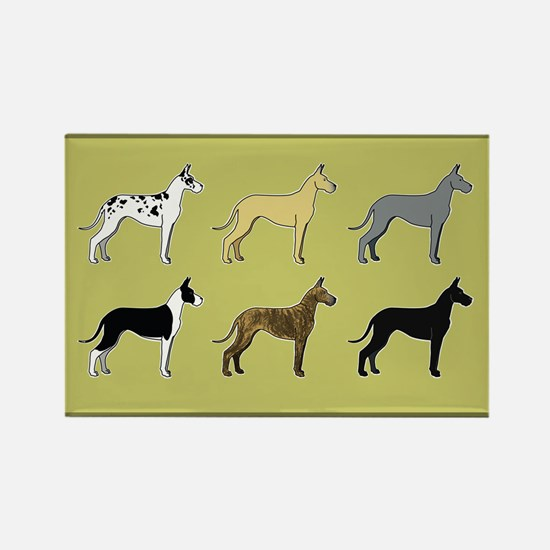 Colorful Danes Rectangle Magnet