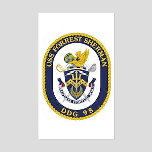 USS Forrest Sherman DDG Rectangle Sticker