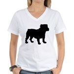 Bulldog Silhouette Women's V-Neck T-Shirt