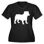 Bulldog Silhouette Women's Plus Size V-Neck Dark T