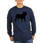 Bulldog Silhouette Long Sleeve Dark T-Shirt