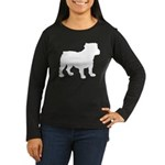 Bulldog Silhouette Women's Long Sleeve Dark T-Shir
