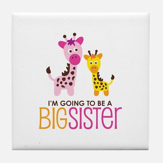 Giraffe going to be a Big Sister Tile Coaster