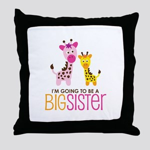 Giraffe going to be a Big Sister Throw Pillow