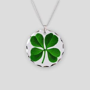 St Patricks Day 4 Leaf Clover Necklace Circle Char