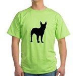 Bullterrier Silhouette Green T-Shirt
