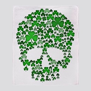 Shamrock Skull St Patricks Day Throw Blanket