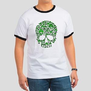 Shamrock Skull St Patricks Day Ringer T