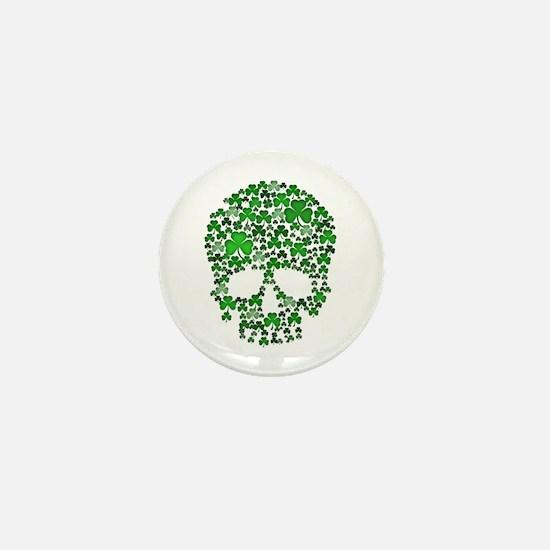 Shamrock Skull St Patricks Day Mini Button