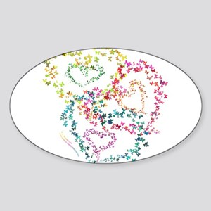 Hearts All Aflutter! - Sticker (Oval)