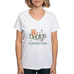 Life Begins At Conception Women's V-Neck T-Shirt